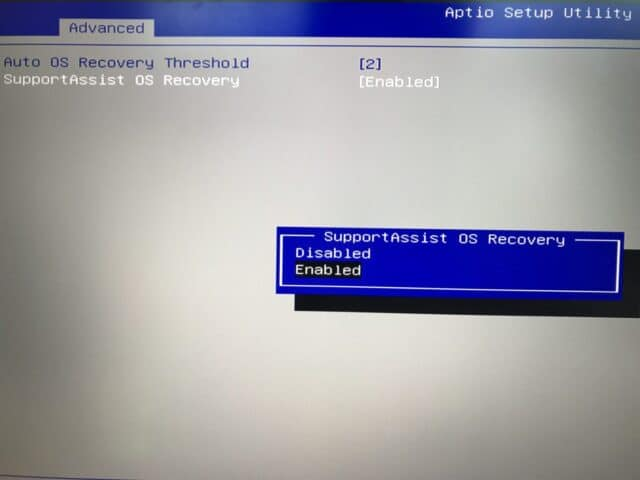 戴尔BIOS Support Assist OS Recovery