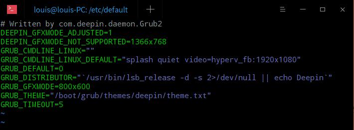 Deepin Hyper-V 修改分辨率