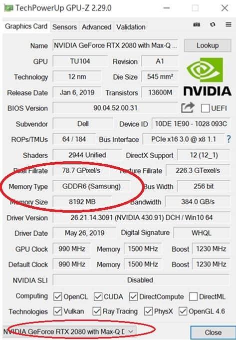 GPU-Z查看显卡信息