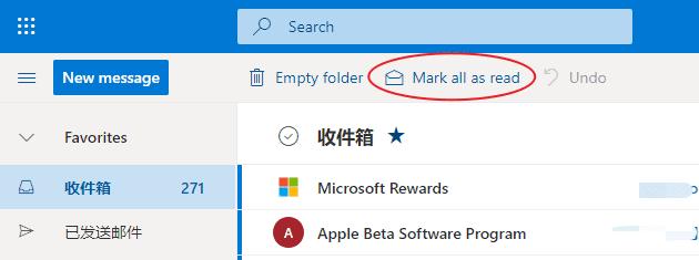 Outlook mark all as read