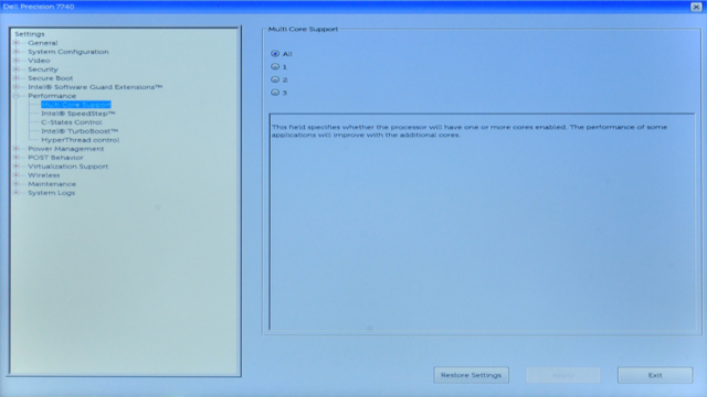 Precision BIOS 修改 CPU 核心数